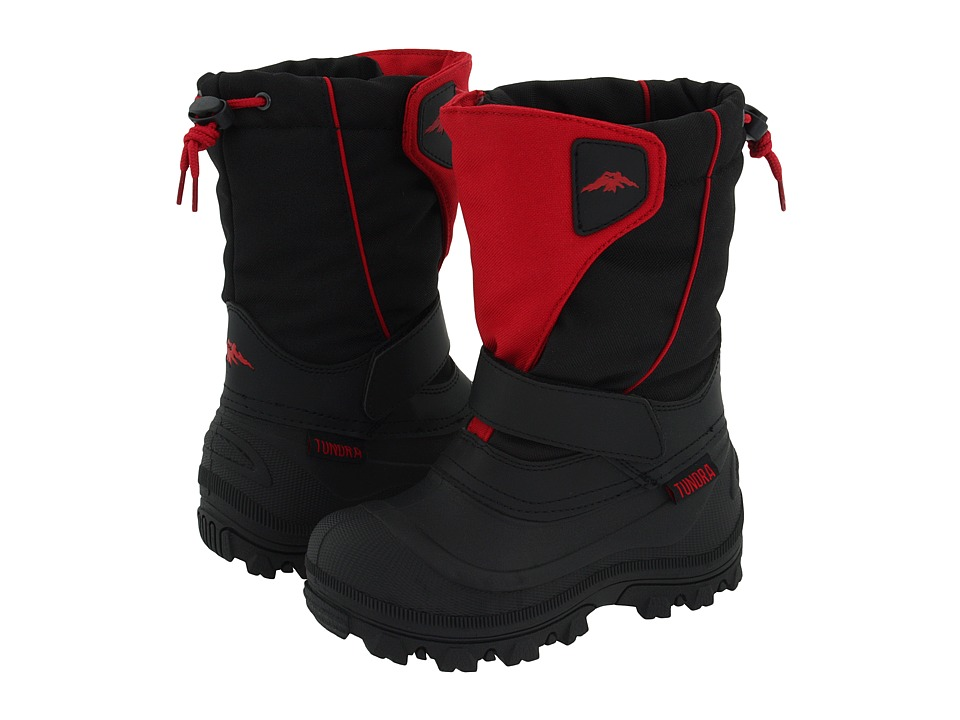 Tundra Boots Kids Quebec Wide (Toddler/Little Kid/Big Kid) (Black/Red) Boys Shoes