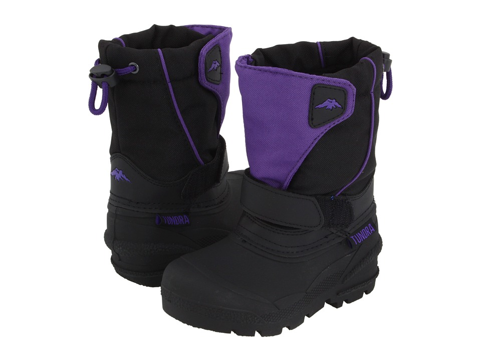 Tundra Boots Kids Quebec (Toddler/Little Kid/Big Kid) (Black/Purple) Girls Shoes
