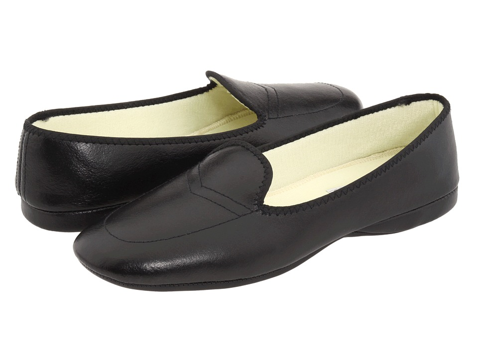 Daniel Green Meg (Black Leather) Slippers