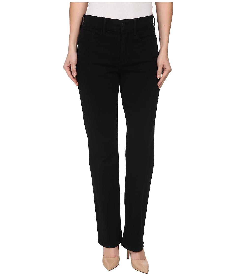 NYDJ Petite Petite Marilyn Straight Leg Classic Overdye Black Womens Jeans