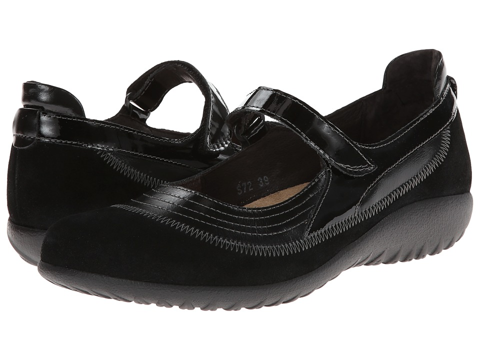Naot Kirei (Black Suede Leather Combination) Maryjanes