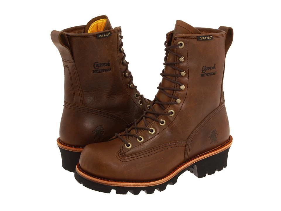 Chippewa - 8 Bay Apache Waterproof Lace-to-Toe Logger (Brown) Mens Work Boots