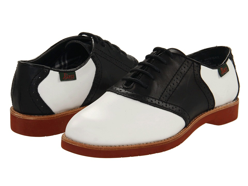 Bass - Enfield WhiteBlack Leather Womens Lace up casual Shoes $89.00 AT vintagedancer.com
