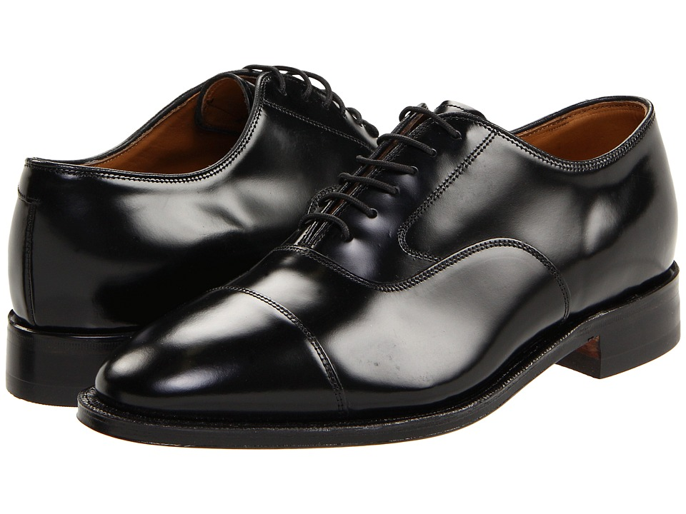 Johnston & Murphy - Melton Cap Toe (Black Brushed Veal) Mens Lace Up Cap Toe Shoes