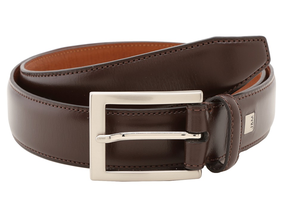 Johnston & Murphy - Johnston Murphy Dress Belt (Dark Brown) Mens Belts