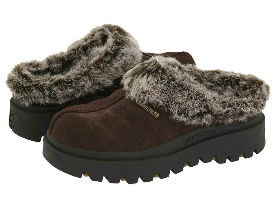 Shop SKECHERS online and buy SKECHERS Shindigs - Miracle Chocolate Suede-Faux-fur Lining Women's Clog Shoes - It's a Miracle when comfort and style collide like they do in these amazing clogs from Skechers.A wearable slide that will get you through the weekend.Easy slip-on construction.Leather upper.Suede upper with stitch detail.Quilted detailing throughout.Faux-fur collar and lining.Faux-fur trim at collar.Cushioned fabric footbed.Lightly padded insole.Shock absorbing midsole.Lugged rubbed outsole.Flexible man-made sole with traction. Measurements:Heel Height: 1 inWeight: 1 lbPlatform Height: 1 inProduct measurements were taken using size 7, width B - Medium. Please note that measurements may vary by size.