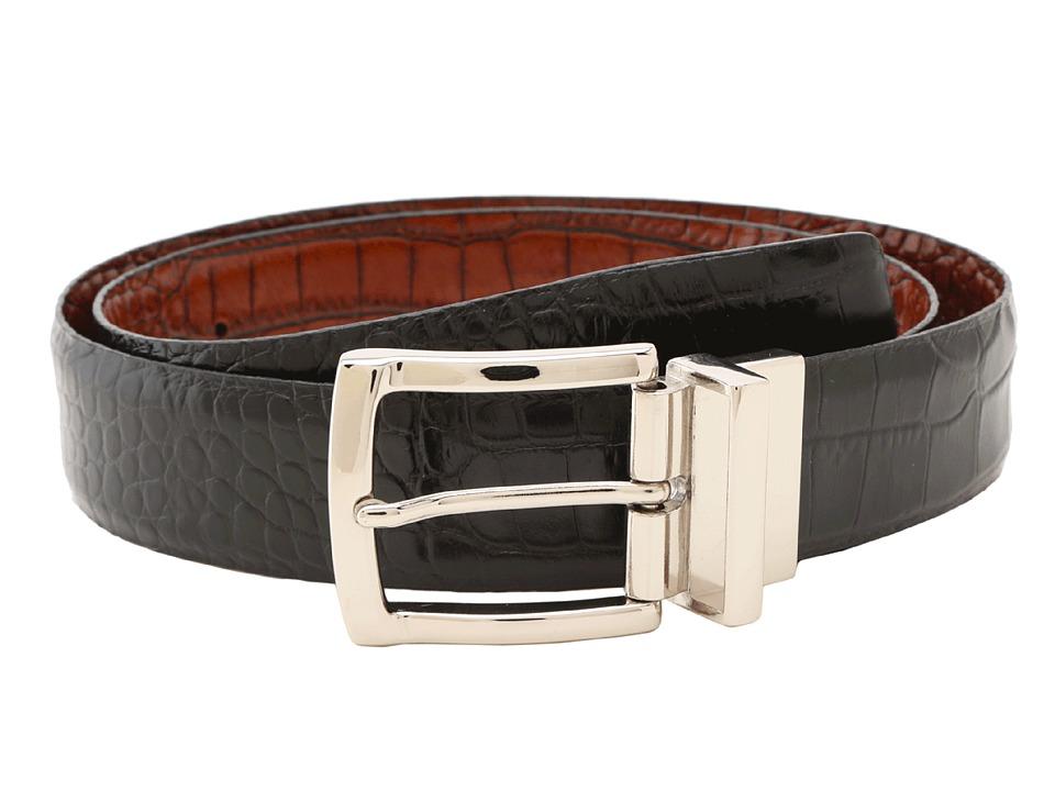 Torino Leather Co. Reversible Italian Crocodile Embossed (Black/Cognac) Men