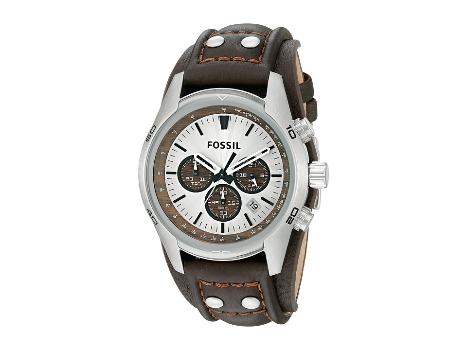 Fossil - CH2565 Cuff Chronograph Leather Watch (Brown Leather Band/Tan Dial/Wood) Watches