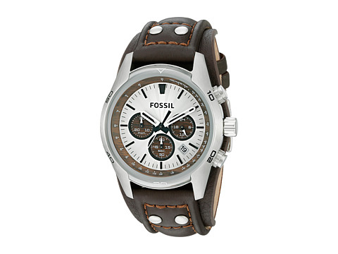 Fossil CH2565 Cuff Chronograph Leather Watch - Brown Leather Band/Tan Dial/Wood