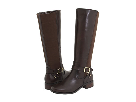 fitzwell mentor wide calf boot brown burnished leather