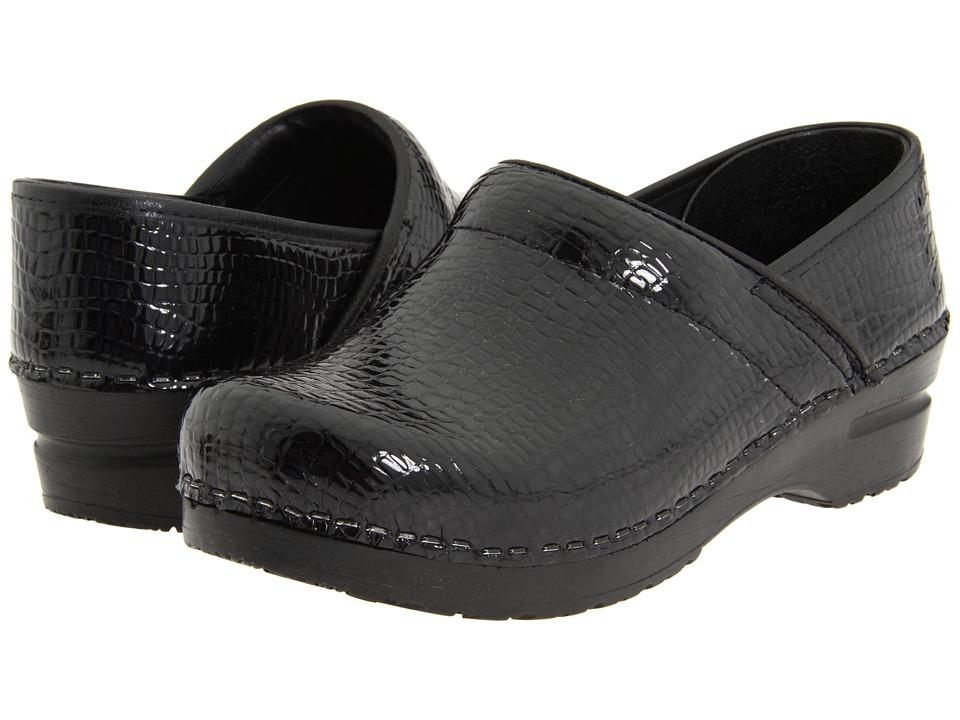 Sanita Professional Croco Black Faux Croco Womens Clog Shoes