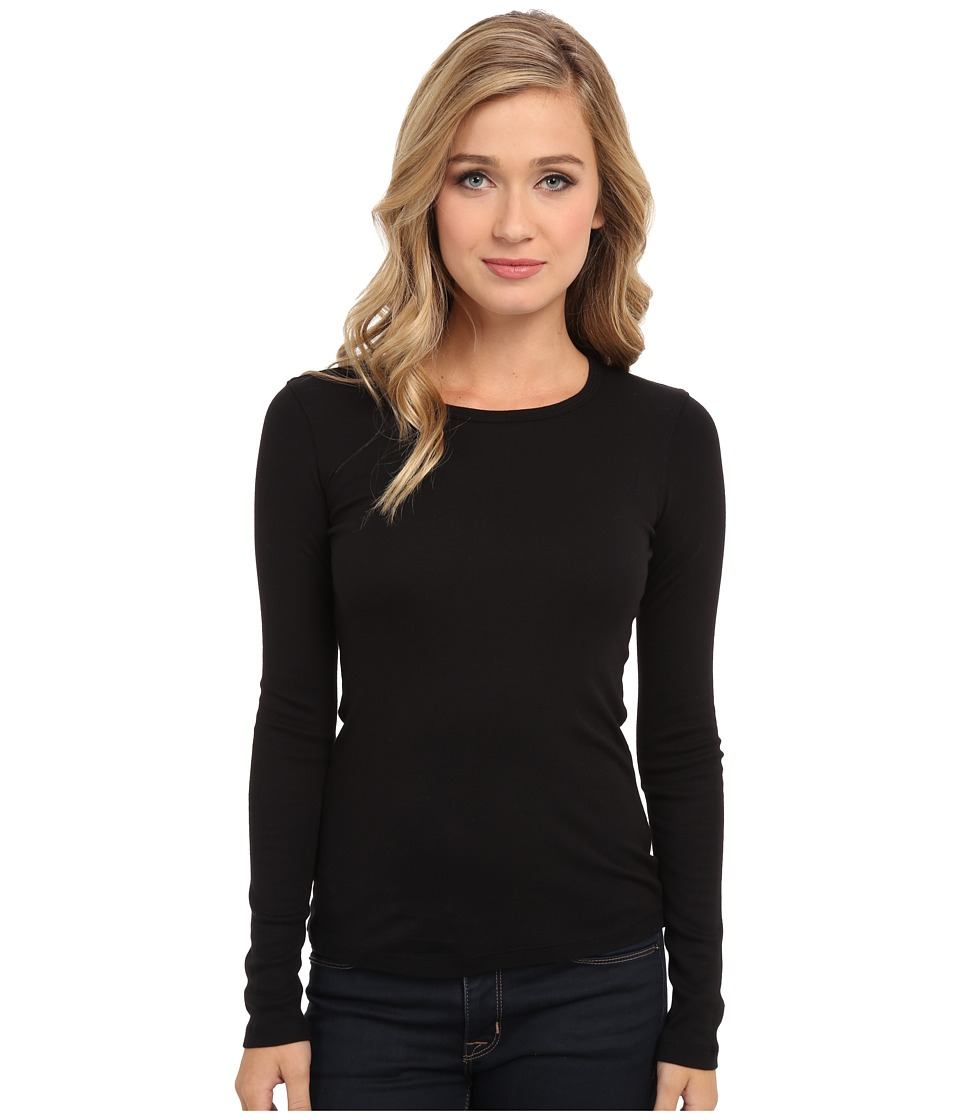 Splendid - 1x1 Rib L/S Crew Neck Tee (Black) Womens Long Sleeve Pullover