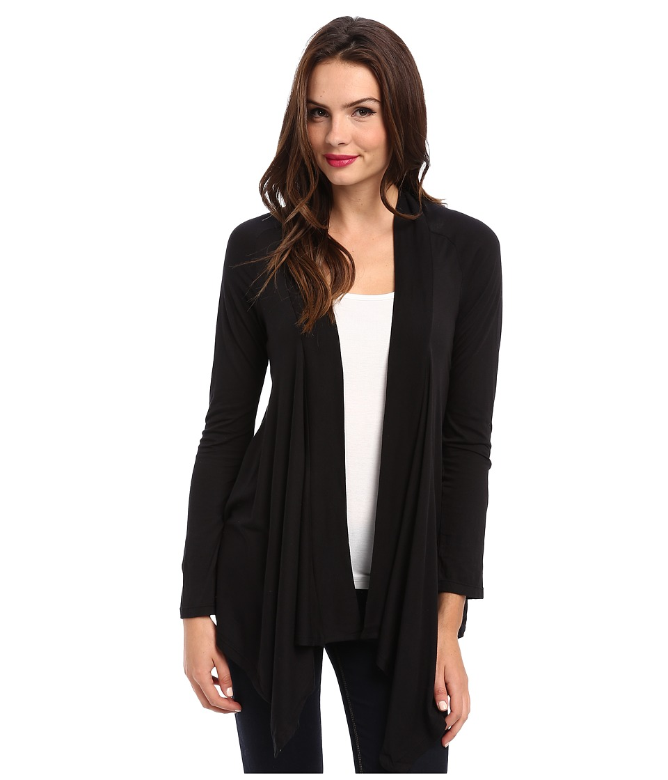 Splendid Very Light Jersey Drape Cardigan (Black) Women