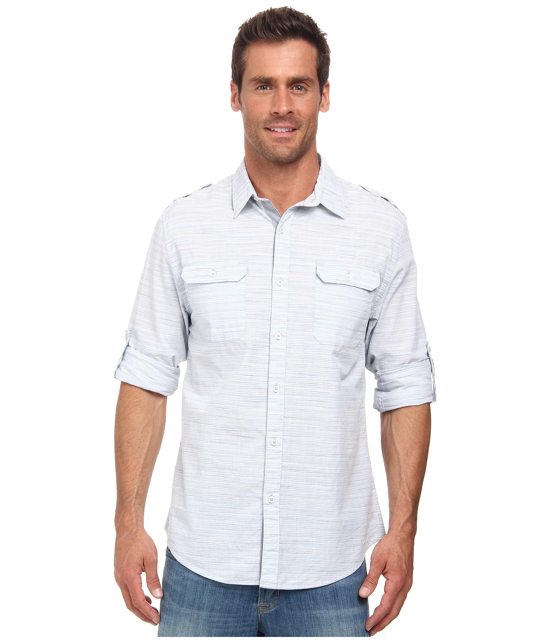 Dkny Jeans Long Sleeve Roll Tab Space Dye Slub Shirt