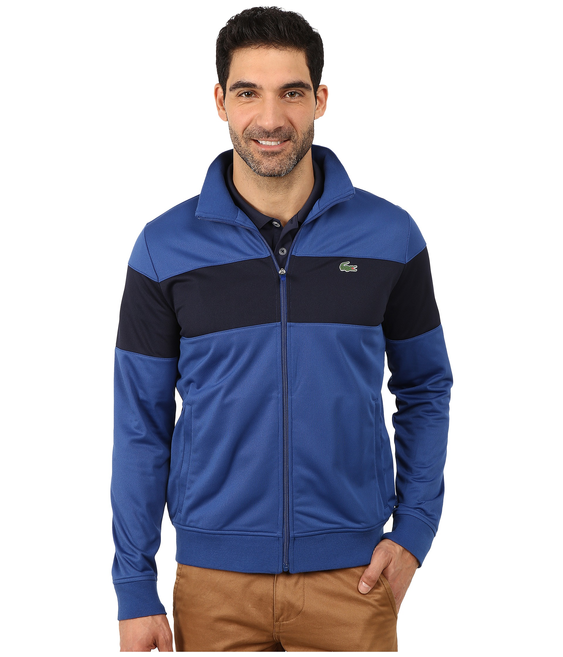 lacoste sport track jacket with bold chest stripe. Black Bedroom Furniture Sets. Home Design Ideas