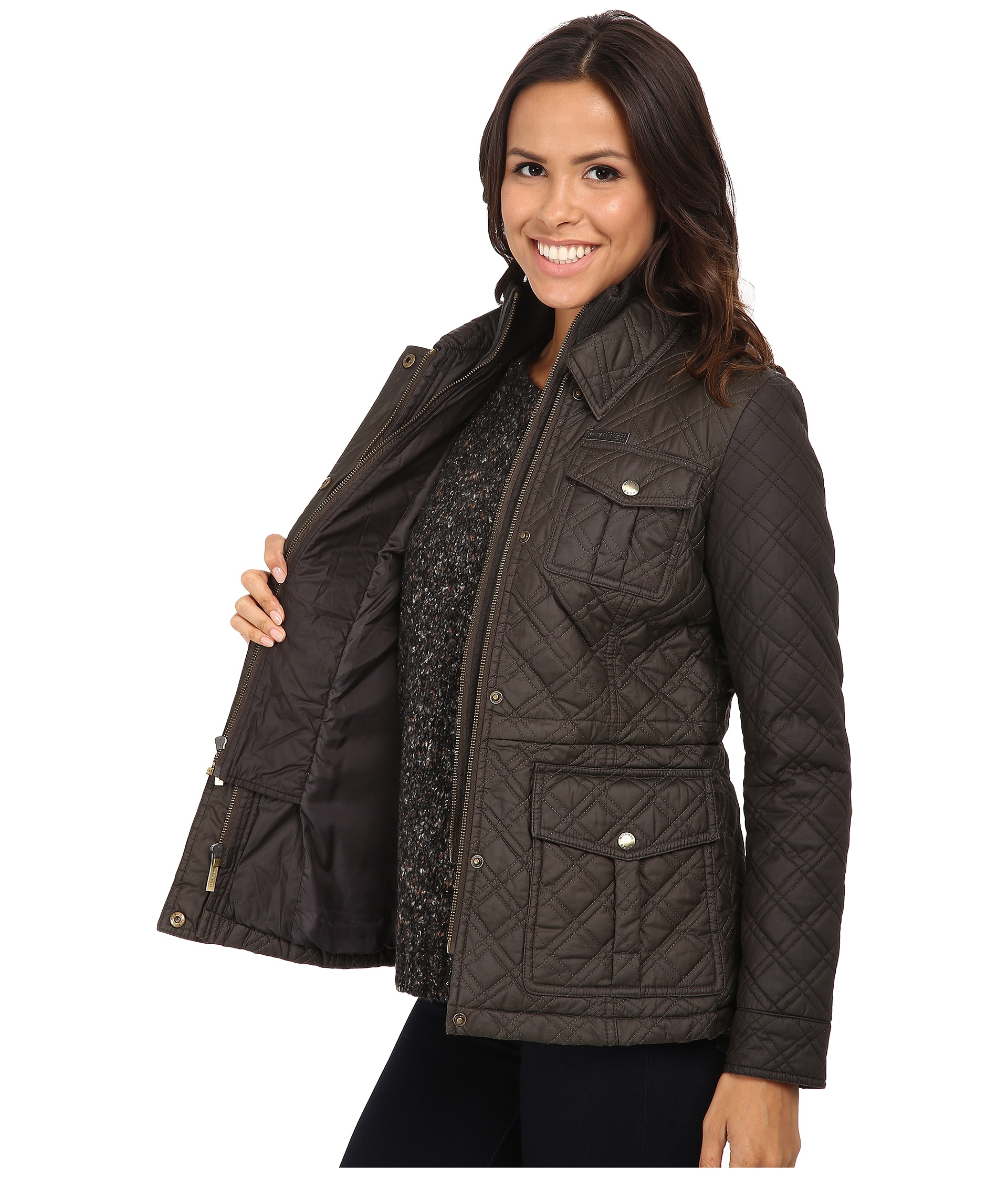 michael michael kors quilted field jacket w bib free shipping both ways. Black Bedroom Furniture Sets. Home Design Ideas