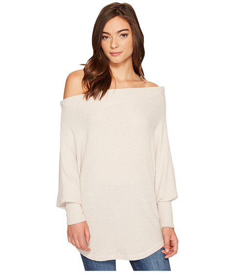 Lottie Long Sleeve Off the Shoulder Waffle Top