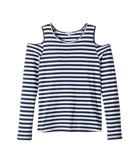 Long Sleeve Cold Shoulder Stripe Top (Big Kids)