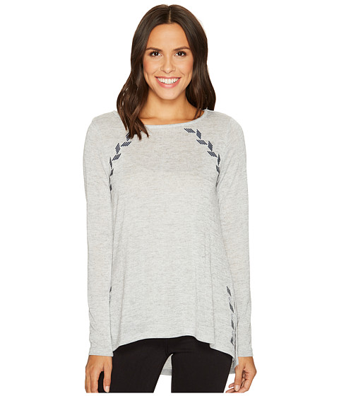 Poly Slub Sweater Knit Embroidered
