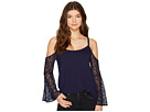 Drapey French Terry Cold Shoulder Sweatershirt with Lace Sleeves KS8K3431