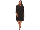 Plus Size Flounce Sleeve Lace Combo Dress