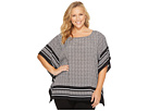 Plus Size Houndstooth Border Top