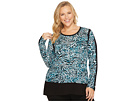 Plus Size Big Cat Woven Combo Top