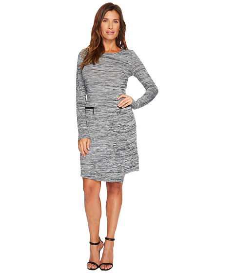 3/4 Sleeve Space Dye Jersey Dress w/ Zip Detail