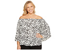 Plus Size Pleated Sleeve Animal Whispers Off Shoulder Blouse