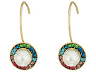 Multicolor Stone and Pearl Drop Earrings