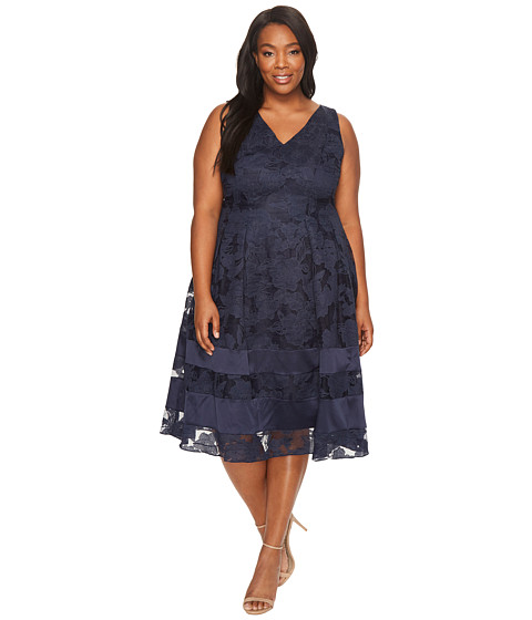 Plus Size Burnout Fit and Flare Dress