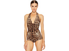 Cheetah Tie Neck Maillot Swim One-Piece