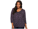 Plus Size Leaf Print Peasant Top