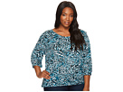 Plus Size Big Cat Peasant Top