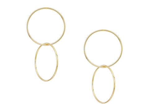 Polished Gold Double Circle Drop Post Earrings
